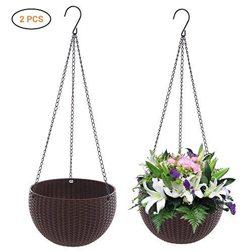 EisEyen - Set di 2 cestini per fioriera sospesa, con ganci, colore: Grigio Bianco Rosso Blu Marrone marrone