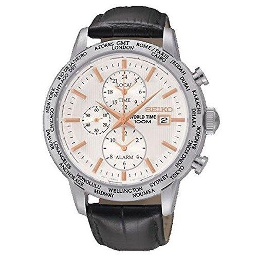 Seiko Herren Chronograph Quarz Uhr mit Leder Armband SPL053P1_Nero, Panna