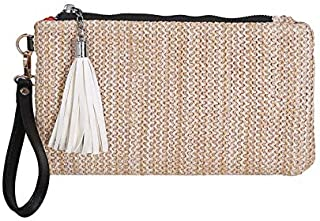 TOOGOO New Summer Bohemian Handbag Hollow Straw Beach Bag Casual Tassel Clutch Bag Khaki