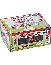Fischer DUOPOWER 6 x 30, universele pluggen, krachtige 2-componenten-pluggen, kunststof pluggen voor bevestiging in beton, bakstenen, steen, gipsplaat enz. zonder schroeven, 100 stuks