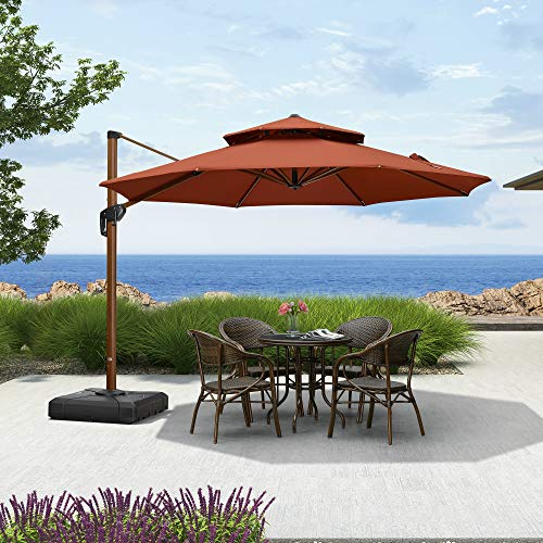 PURPLE LEAF 10ft Patio Umbrella Outdoor Round Umbrella Large Cantilever Umbrella Windproof Offset Umbrella Heavy Duty Sun Umbrella for Garden Deck Pool Patio, Brick Red