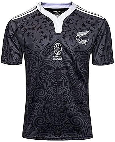 Rugby-Trikot für Herren, Neuseeland, Maori, Rugby-Trikot, 100. Jubiläumsausgabe, Rugby-T-Shirt, Weltmeisterschaft, Herren-Polo-Shirt, Größe L, Schwarz