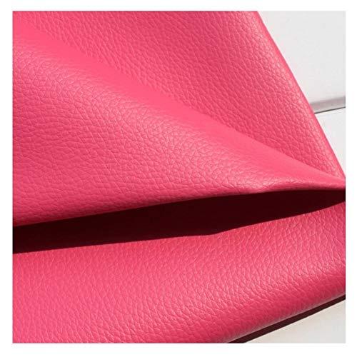 Polipiel Tela Cuero Artificial Polipiel para tapizar,manualidades, Venta de polipiel por metros, PVCTejido de piel sintética, piel sintética, Rojo de Rose (Múltiples tamaños) ( Size : 1.38×20m )