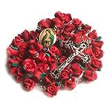 Risen Rosaries - Rosary Beads Necklace for Women - Catholic Communion Gift - Red Rose Garden Rosary - Free Velvet Pouch