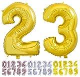 Globo numero 23 o 32 dorado. Globos Gigante números 2 3 del 0 al 99 fiestas cumpleaños decoración fiesta aniversario boda tamaño grande 70 cm con accesorio para inflar aire o helio (23/32 Oro)