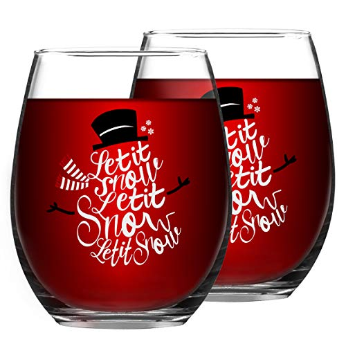 Let It Snow Christmas Wine Glass, 15 Oz Funny Stemless Wine Glasses for Women Friends Men, Gift Idea for Christmas Wedding Party, Set of 2