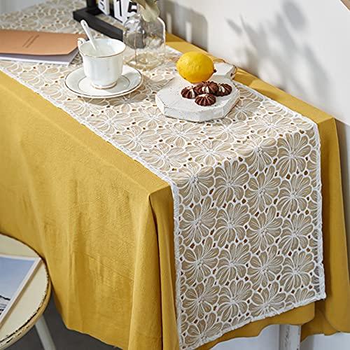 Corredor De Mesa De Encaje Romántico Blanco, Bordado Hueco Francés Aislamiento De Calor Placems, Mesa De TV De Mesa De Café Rectangular De Cena, Lavable(Size:35×180cm)