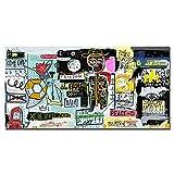Basquiat Abstracto Graffiti Calle Arte Poster Inspirador Pared Arte Moderno Cultura Estilo Lienzo Cuadro Hogar Decoracion Cuadros 50x100cm No Marco