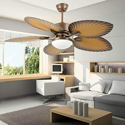 Andersonlight 52 inches Tropical Ceiling Fan Remote Indoor Outdoor Fan Light 5 ABS Palm Blades and Light Kit for Living Room Bedroom Dining Room Fan Chandelier