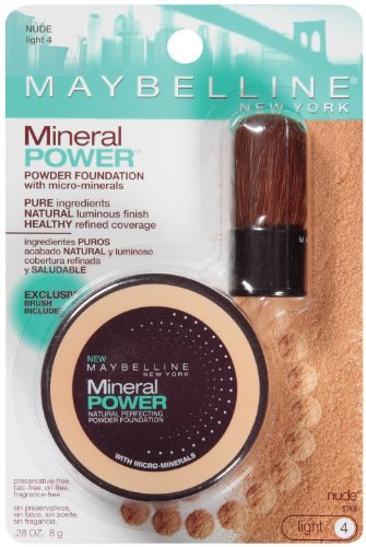 Maybelline New York Mineral Power Natural Perfecting Powder Foundation, Nude, Light 4, 2 Ea