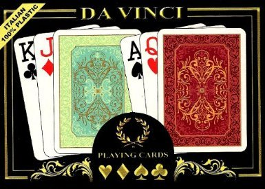 DA VINCI Persiano, Italian 100% Plastic Playing Cards, 2-Deck Set Poker Size Jumbo Index, with Hard Shell Case and 2 Cut Cards