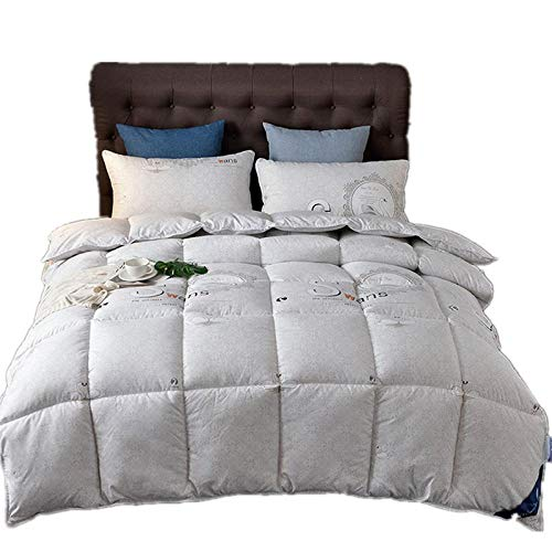 Hahaemall duvet double bed White Goose Feather & Down Duvet-100% Cotton Anti Dust Mite & Down Fabric-Anti Allergen-gray_200x220-2500g
