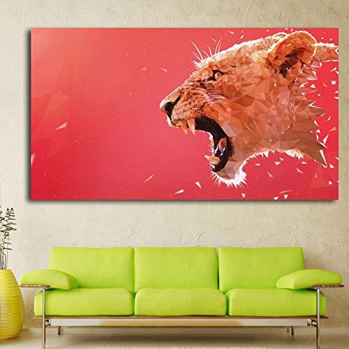 WSWWYAffiche imprimée sur Toile Avec UNE Grande tête de Lion, Image Rouge Pour la décoration intérieure A 40x70cm No Frame