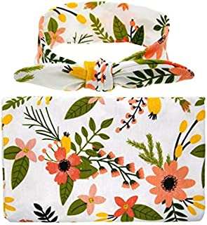 Beauenty Baby's Floral Printed Blanket with Headband Set (Yellow)