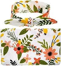 Newborn Receiving Blanket Headband Set Flower Print Baby Swaddle Receiving Blankets Floral Printed Baby Gift Set Yellow Flower