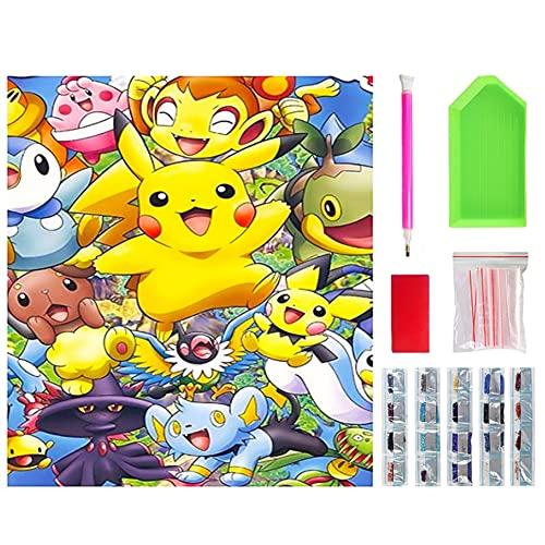 Peinture au Diamant 5D Kit peinture diamant pour adultes et enfants, Pikachu Diamant Peintures Pokemon Diamant Peinture Broderie Point de Croix Artisanat Décoration Murale de la Maison(30x40cm)