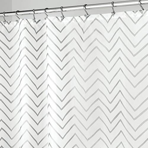 """mDesign Long Decorative Metallic Pattern, Water Repellent, Fabric Shower Curtain for Bathroom Showers and Stalls, Machine Washable - Chevron Zig-Zag Print, 72"""" x 84"""" - White/Silver"""