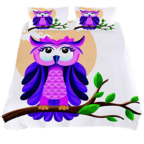 YZ-YUAN The Beautiful Owl Bedding Sets Breathable Bedclothes 3 Pieces Bedding Duvet Cover Sets (1 Duvet Cover + 2 Pillowcases) Room Decor Ultra Soft Microfiber(NO Comforter Included)