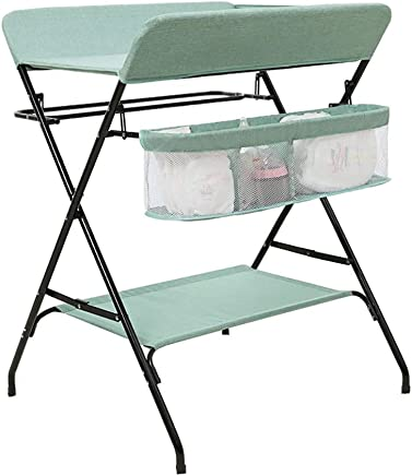LNDDP Changing Table Green Baby with Storage  Infant Changer Diaper Station  Foldable Cross Leg Style  with Towel Rail