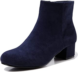 LIURUIJIA Women's Side Zipper Block Heel Ankle Boots Faux Leather Suede Short Booties Dressy Martin Boot LYDX-180106-3