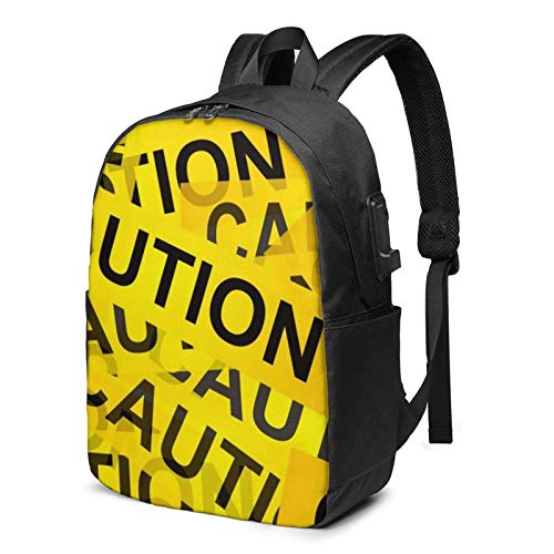 Yellow Caution Sign Busin Laptop School Bookbag Travel Bapack with USB Charging Port & Headphone Port Fit 17 in