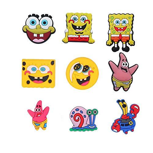 Natsuk486 9 Pcs Spongebob Crocs Shoe Charms ,Cute DIY Unisex Hole Clogs Garden Shoe PVC Fun Clog Charm for Crocs, Apply to Shoe, Wristband Bracelet,Shirt Hole Decoration