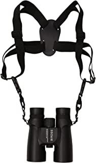 Binocular Harness Strap with Adjustable Stretchy, BIRDSS Camera Chest Harness with 2 Loop Connectors Cross Shoulder Strap with Quick Release, Fits for Binocular, Cameras, Rangefinders and More(Black)