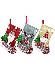 3PZ Medias de Navidad Bolsa de Regalo Calcetines de Navidad Regalode Decoración Christmas Stocking Xmas Medias de Regalo para el árbol de Navidad Chimenea Decoración Colgante Calcetín (23*15cm)