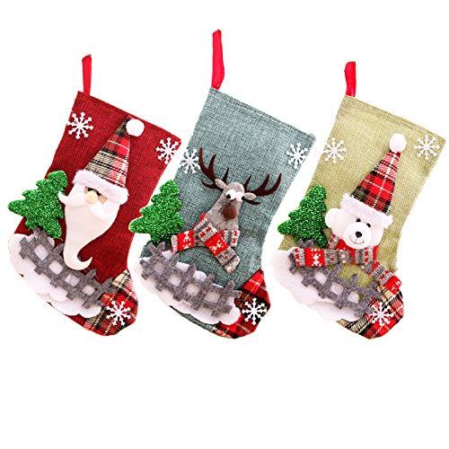 3 Stk Nikolausstiefel zum Befüllen und Aufhängen 23*15cm Nikolaussocken groß Weihnachtsstrumpf Set Kamin Christmas Stocking Xmas, Weihnachtsdekoration Weihnachtssocke Socken für Kamin Wand Candy