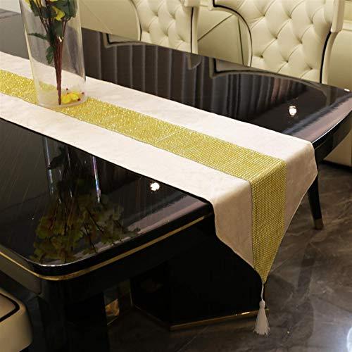 FHKBB Tischläufer Diamant Tischläufer Moderne Tischläufer Beige für Hochzeitsfeier Chirstmas Dekoration Home Esstisch Schuhschrank Tisch D & Eacute; COR (Größe: 32x250cm)