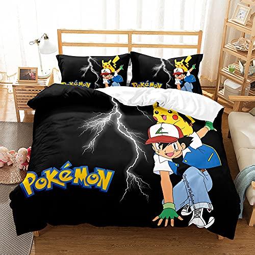 Pikachu Duvet Cover Set 135x200 Cm, Pikachu Single Duvet Cover With 1 Pillowcase, Comfortable Anti-Allergic Microfiber Children'S Bedding Set