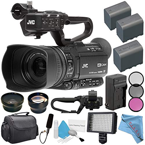 JVC GY-HM180 GY-HM180U Ultra HD 4K Camcorder + BNV-F823 Replacement Lithium Ion Battery + External Rapid Charger + 62mm Wide Angle Lens + 62mm 2X Lens + JVC QAN0067-003 Microphone Bundle