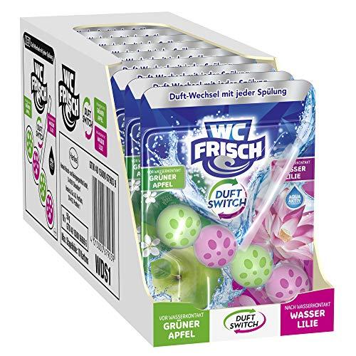 WC FRISCH Duft Switch Grüner Apfel und Wasserlilie, WC-Reiniger & Duftspüler, Duftwechsel, 10er Pack (10 x 1 Stück)