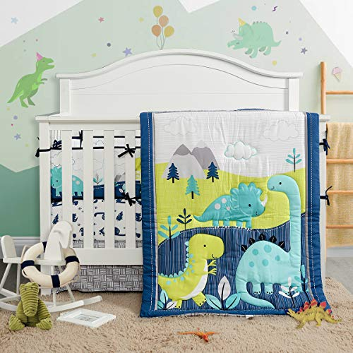 3 Piece Crib Bedding Set Navy Teal and Yellow Modern Dinosaur Baby Boys or Girls Dino Nursery Cute Style (Crib)