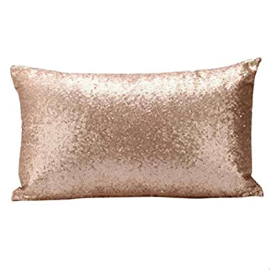 GBSELL Pillow Cover Glitter Sequins Rectangle Throw Pillow Case Cafe Home Party Christmas Decor Cushion (Gold)