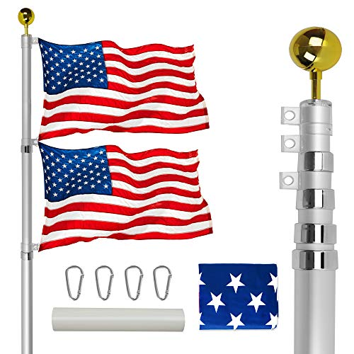 VAIIGO 25FT Telescoping Flag Pole Kit, Heavy Duty Aluminum Flag Pole Fly 2 Flags, with 3 x 5 American Flag, Golden Top Ball and Clips Inground Flag Pole for Outdoor, Commercial, Residential Use