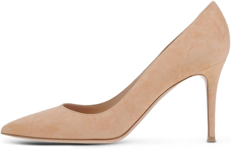 AIWEIYi Women's Fashion Pointed Toe Med Heel Slip On Platform Pump shoes