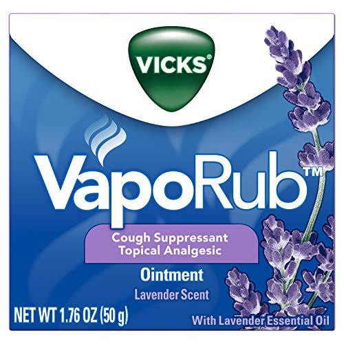 Vicks VapoRub, Lavender Essential Oil Chest Rub Ointment, Relief from Cough, Cold, Aches, & Pains with Original Medicated Vicks Vapors, Topical Analgesic, 1.76 OZ