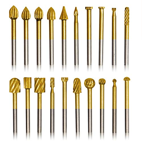 20pcs Rotary Bits Burr Set with 1/8 inch Shank for DIY Woodworking, Carving, Engraving, Drilling.