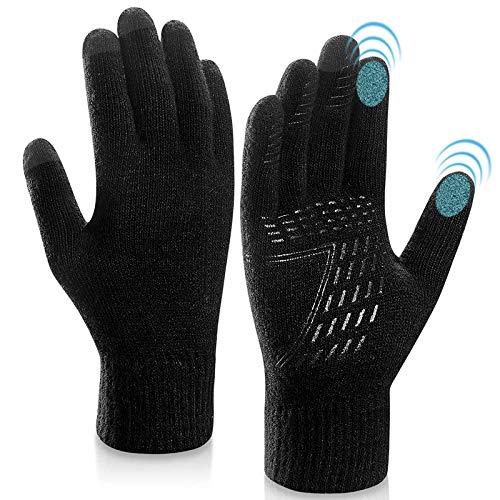 KEZKALS Touchscreen Handschuhe Herren Damen Winter - Weich & Warm Thermo Handschuhe, Geschenke für Frauen Männer, Adventskalender Männer 2020 zum Befüllen (M- 21 * 12cm, Schwarz)