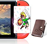 Zelda Breath of The Wild Botw NFC Tag Game Cards - 24Pcs Portable Leather Holder with Link's Awaking - Compatible with Switch/Switch Lite/Wii U
