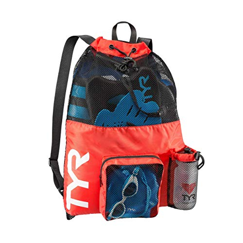 TYR Big Mesh Mummy Backpack for Wet Swimming, Gym, and Workout Gear, Red