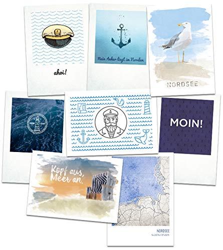 Stadtliebe® | Nordsee Postkarten Set - 8 Maritime Postkarten Motive Format A6 (Grußkarte)