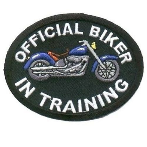 Official Biker In Training BLUE Motorcycle MC Embroidered Vest Patch PAT-1343