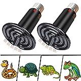 liuer Lámpara para Tortuga 2PCS Lámpara de Calor de Reptil,Lámparas Térmicas para Terrarios E27 Bombilla de Calor Infrarroja de Cerámica Lámpara para Tortuga/Lagartos/Serpientes/Camaleones (100W)