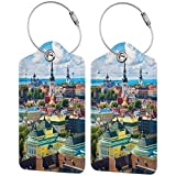 ZOANEN Etiquetas para Equipaje,Verano escénico del Casco Antiguo Vibrante Paisaje Europeo con diseño Urbano Sky,2 Piezas Etiquetas de Equipaje de Viaje de la Maleta para Maletas