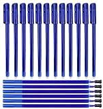 (42 Pezzi) Kit 12 Penne Cancellabili Blu + 30pz Ricariche per Penne Punta Stabile 0.5 mm