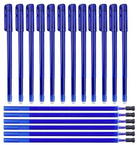 Gudotra 12pcs Bolígrafos Borrables + 30 Recargas Azules Recargas de Bolígrafos Borrables Punta de 0.5 mm (12pz Bolígrafos+30 Recargas Azules)