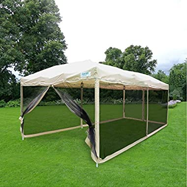 Quictent 10x20 Easy Pop up Screen Canopy with Netting Pop up Screen House Tent Mesh Sidewall(Tan)