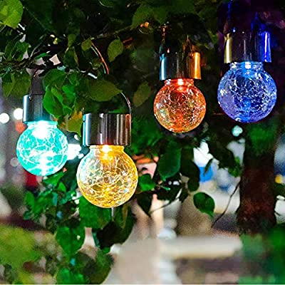 JEERUI Solar Hanging Light Solar Hanging Ball Light Solar Crack Light Crackle Glass Globe Outdoor Landscape Pathway Lights Decoration for Garden Path Walkway Patio Yard Tree